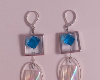 Earrings silver square and cube blue and oval