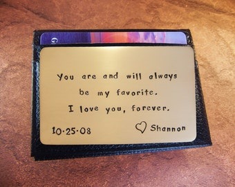 8th wedding, Pure Bronze, Anniversary Gift, Metal Wallet Insert, Love Reminder Card, Men