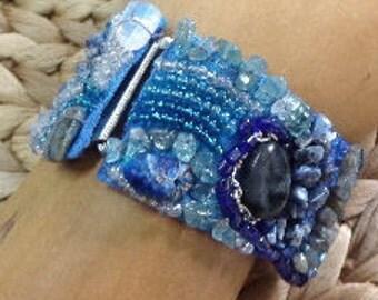 Gemstone beads embroidered bracelet
