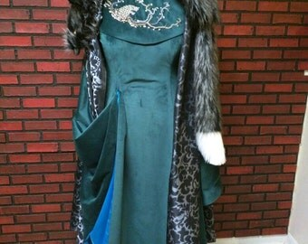 Sansa Stark season 6 inspired teal velvet dress with embroidered collar and faux fur cloak,  direwolf beaded embroidery, Full Sansa cosplay