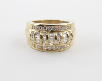 14k Yellow Gold Diamond Anniversary Cocktail Band Ring 1.00 carat