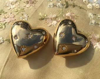 1980's Heart Earrings with 6 sparkling Crystals
