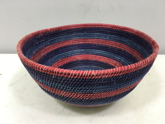 Basket African Lesotho Blue Purple Red Woven South Africa Handmade Hand Woven Coiled Woman Unique SM27