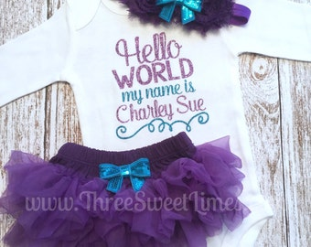 Hello World Coming Home Outfit Baby Girl   Tutu Bloomers   Purple and Teal Glitter   Opt Headband & Ruffle Bloomers   Take Home Outfit