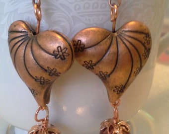 My Hearts Desire Copper Heart Earrings E-222