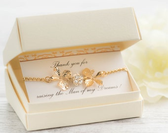 gold orchid bracelet as mother of groom gift as sister in law gift with  raising the man of my dreams card - crystal orchid jewelry