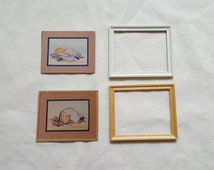 Pair of Miniature Dollhouse Wood Frame and Picture Wall Hanging Set 1:12 Scale FS