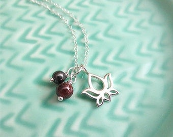 Fertile Lotus Fertility Necklace, on a 24 inch Silver Plated Chain