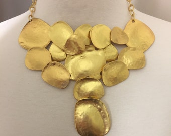 Stunning Kenneth Jay Lane KJL Large Satin Gold Cascade Bib Necklace