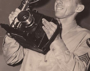 Soldier Photographer, Vintage Photography, Military Photo, Antique Camera, Black and White Photo, Military, Army Photo, Serviceman
