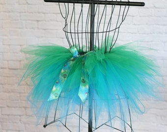 Peacock Tutu - Girls Peacock Costume - Green & Blue Tulle Skirt - Green Tutu Skirt - Blue Tutu Skirt - Peacock Flower Girl Tutu