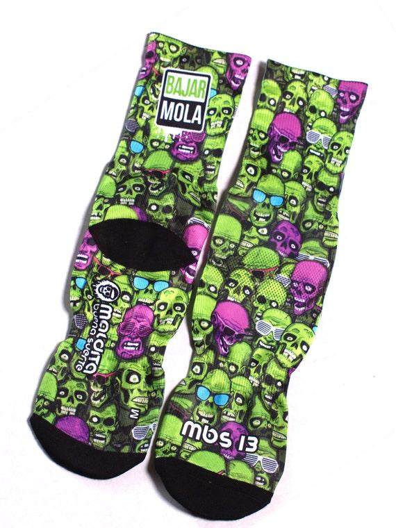 MBS 13 skulls green socks