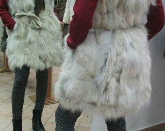 Sale -10%! NEW! Natural,Real LONG Hooded Fox Fur Vest!!!
