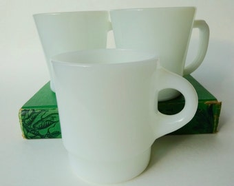 Vintage White Milk Glass Fire King Mugs - 3 Individuals
