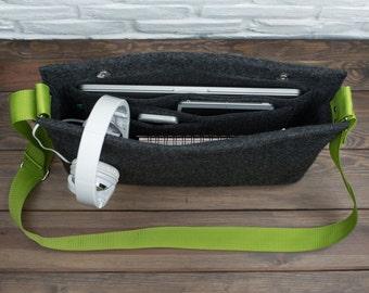 "Laptop bag, felt crossbody bag, MacBook messenger, laptop bag for women, 13"" MacBook, 11"" MacBook Air, Gopher"