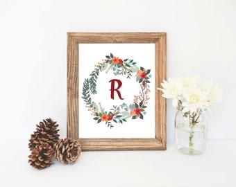 Letter R Printable, Nursery Monogram, Floral Nursery Decor, Letter Monogram, Girl Monogram, Flower Art Print, Instant Download