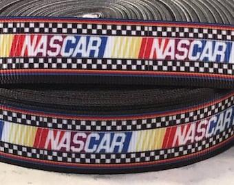 """Nascar Ribbon - Nascar Racing Ribbon - 7/8"""" Grosgrain Ribbon by the yard, for hair bows,crafting and more!  Car Racing Ribbon - Nascar"""