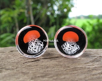 """1 Pair (2 Pieces) Red Pyrex Glass Jellyfish Plugs on Black 0g 00g 7/16"""" 1/2"""" 9/16"""" 5/8"""" 3/4"""" 1""""  8 mm 10 mm 12 mm 14 mm 16 mm 18 mm - 25 mm"""