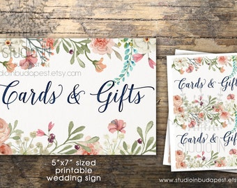 Cards and Gifts sign printable, wedding sign, floral cards sign printable, rustic gifts sign, DIY wedding sign, INSTANT DOWNLOAD