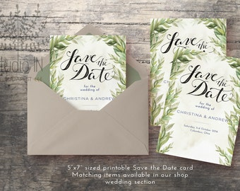 Save The Date Card, Green rustic Save the date card, Forest save the date card, Garden wedding, DIY wedding card, Printable wedding card
