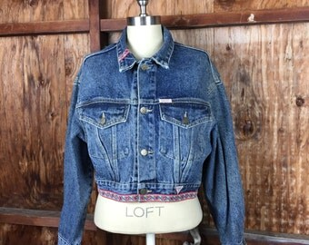 Vintage, VTG, Women's, 90's Guess Georges Marciano Denim Jacket Sz. Medium Made in USA