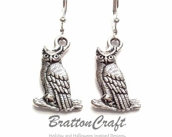 Silver Owl Earrings - Owl Earrings - Halloween Owl Earrings - Hoot Owl Earrings - Wise Owl Earrings - Bird Earrings - Owl Jewelry
