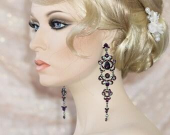 Teardrop Royal Purple Wedding Earrings. Crystal Chandelier Bridal Earrings. Teardrop Jewelry Earrings, Bridesmaids Post Earrings Ruby Blooms