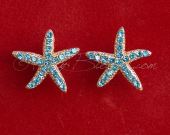 Turquoise Blue Starfish Earrings. Beach Wedding Jewelry Bridal Accessory Crystal Gold Blue Star Fish Destination Wedding Ruby Blooms
