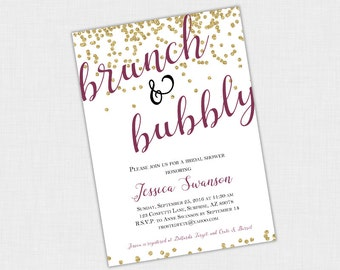 Confetti Bridal Shower Invitation, Gold Sparkle Invite, Brunch and Bubbly, Bubbles  DIY Printable 5 x 7