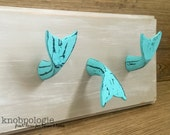 Distressed Turquoise Whale Tail Knob Drawer Pull or Hook - Mermaid Tail - Dolphin Fin - Beach Theme - Nautical Nursery decor