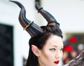 "NEWLY IMPROVED! 12.5"" Maleficent Inspired Horns  3D Printed (Ultra Light Weight Plastic) Suitable for adults comic-con"