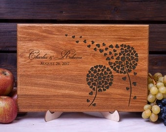 Personalized Cutting Board Dandelion cutting board Wedding gift Anniversary Housewarming gift for Couple Custom Wood cutting board chopping