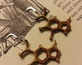 Laser Cut Guanine DNA Nucleobase Molecule Earrings