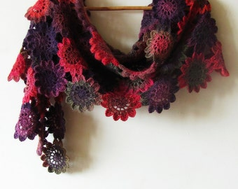 Flower Power - Hand Crocheted Scarf - Handmade Scarf - Mohair Flower Wrap