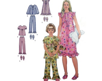 Girls' Nightgown, Pajamas and Slippers Sewing Pattern Children's Sleepwear Size 7, 8, 10, 12, 14 Uncut Simplicity 2831