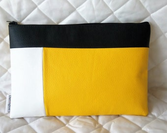 Sunshine Yellow and White Faux Leather Colour Block Clutch