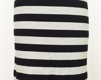 Stripe jersey pencil skirt