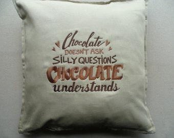 Chocolate Lover Cushion Cover Embroidered Pillow Slogan Statement Chocoholic