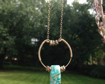 Art Deco Inspired Gold and Jasper Long Neclace