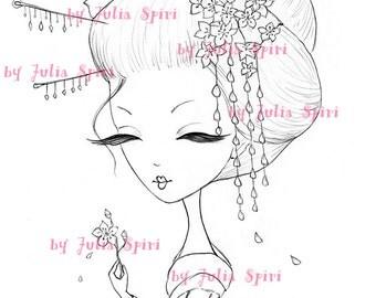 Digi Stamps, Paper crafting, Digital stamp, Geisha, Maiko Sherry Blossom, Sakura. The  Spring Flowers Collection. Geisha and Cherry Blossom