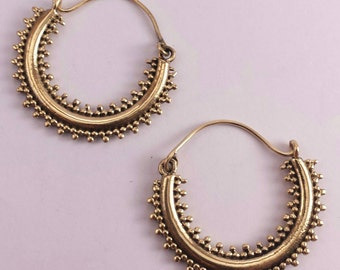 Tribal Brass Dotted Hoop Earrings - Boho, Ethnic,Gypsy, Bellydance 3.5cm