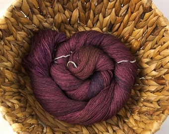 Hand dyed lace yarn superwash merino/silk - Rosewood
