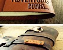 SALE 50% OFF ... Premium Leather Journal -- Fire-Branded Adventure Quote -- Handmade in Portland... Sale Today - Small Only 20 dollars!