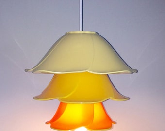 Vintage Yellow Rose bowl set RePurposed UpCycled into a Pendant light
