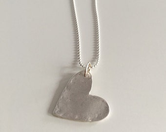 Dented heart, pendant necklace, fine silver with sterling silver chain