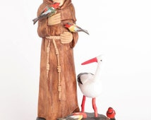 St. Francis of Assisi St Francis Statue Wood carving Hand Carved Sculpture Wooden Sculpture Polish carving