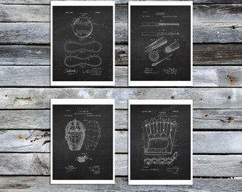 Baseball decor set of 4 prints, Baseball Posters, Chalkboard Art Prints, Baseball Decor ideas, Vintage Baseball Patent, Baseball room decor