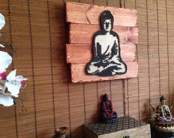 Wall Art, Buddha, Home Decor, Rustic Decor, Wood Wall Art, Wall Decor, Wall Hanging, Wedding Gifts, Housewarming Gifts, Birthday Gift