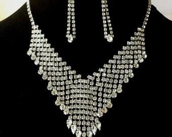 Vintage Rhinestone Waterfall Bib Wedding Necklace Set with Earrings