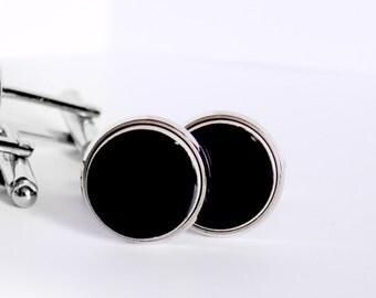 Black cufflinks silver cufflinks Ceramic cufflinks 15mm cufflinks handmade cufflinks big cufflinks Everyday cuff links Zu Design Jewelry